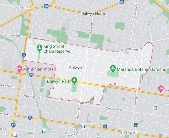 Balwyn map area