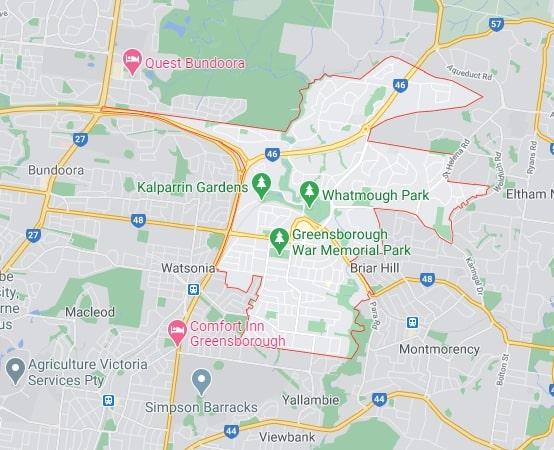 Greensborough map area