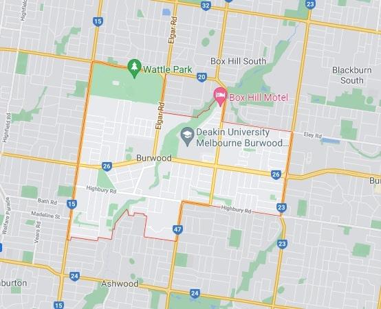 Burwood map area