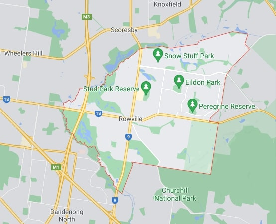 Rowville map area